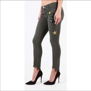 Stay blue pants jeans 28 women's patches pins